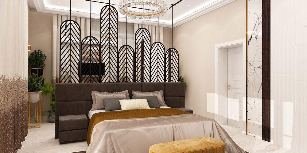 спальня вид на кровать